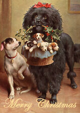 POODLE WITH PUPS & JACK RUSSELL SINGLE DOG PRINT GREETING CHRISTMAS CARD