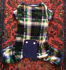Dog Pajamas, Sweater, Christmas, Green Plaid, Extra Soft Fleece Size L