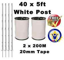 40 X WHITE 5FT POSTS 2x200m 20MM POLY TAPE Electric Fence Fencing Horse Paddock