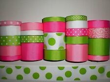 "22 YDS GROSGRAIN RIBBON MIXED LOT ""POLKA DOT"" PRINTED REFA6"