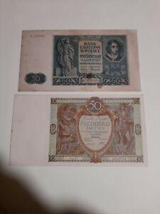 Polonia lotto di 2 banconote da 50 ZLOTYCH