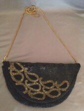 Vintage Black & Gold Purse Handbag Evening Formal Bag Hand Beaded Made Hong Kong