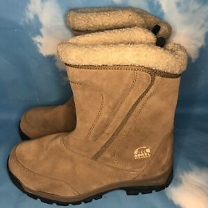 Sorel Women's Snow Waterfall Tan Suede Insulated Winter Boots Size 8.5