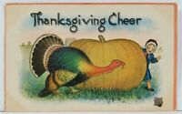Thanksgiving Cheer Turkey Hiding behind Large Pumpkin c1910 Postcard L3
