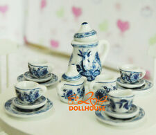 1/12 Scale Dollhouse miniatures Porcelain Coffee tea Cups Dishes 15PCS Blue