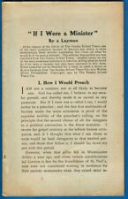 """""""If I Were A Minister"""" By A Layman - Sunday School Times Co., Booklet 1903"""
