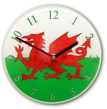 WELSH DRAGON WALL CLOCK Can be personalised. Wales Flag Glass Wall Clock