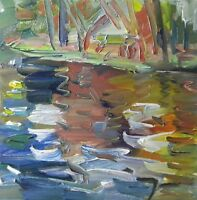 JOSE TRUJILLO - ART Oil Painting Expressionist Modernist River Water Reflections