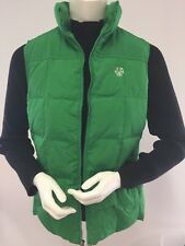 Women's Size SM 6-8 LAND'S END Puffer VEST Green Down Feather Fill