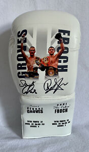 Carl Froch & George Groves Duel Hand Signed Picture & Stats Boxing Glove Bid £93