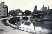 Civil War Photo Ruins at Richmond, VA, canal in foreground, ruins in background