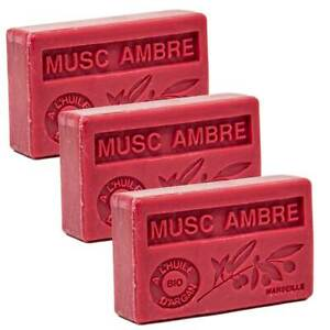 3 x 100g - Amber Musk - French Soaps - with Argan Oil - Savon de Marseille