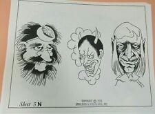 Vintage 1976 RARE Spaulding & Rogers Tattoo Flash Sheet #5N Demons