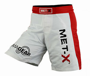 Met-X Premium Fight Shorts UFC MMA Grappling Shorts Kick Boxing White Red Thai