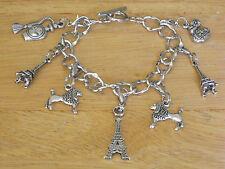 Silver-Tone Paris Toggle Charm Bracelet Eiffel Tower/French Poodle Dog *Gift*