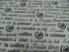 "tela patchwork de Tela ""Bon Appétit"" - All Over NUEVO / 50 x 110cm 100% BW"