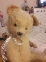 """Antique large 26 """"Traditional mohair jointed teddy bear approx 1940s ~ Victor"""
