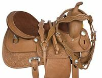 Leather Horse Barrel Gaited Western Saddle & Equestrian with free Tack Set