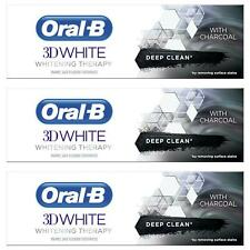3 x Oral-B 3D White Toothpaste Whitening Therapy Deep Clean Paste with Charcoal