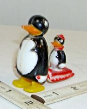 MAMA PENGUIN WITH BABY PENGUIN ON SLED WALKING RAMP WALKER TOY 1960s