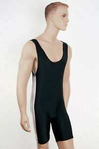 Black/White Wrestling Body Jump Suit Lycra Singlet Gym Suit - Senior LARGE