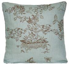 Bonsai Cushion Cover Nina Campbell Fabric Manchu Toile Dark Duck Egg Linen Print