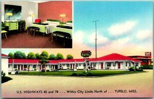 1950a TUPELO, Mississippi Postcard TRAVELERS MOTEL Highway 45 Roadside Chrome