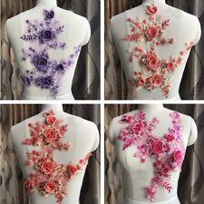 1pc Floral Lace Applique Motif Trim Bridal Wedding Embroidery Sewing Craft DIY