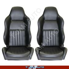 Classic High Back Pair 2 x Black Leather Car Bucket Seats - Holden Gemini NEW