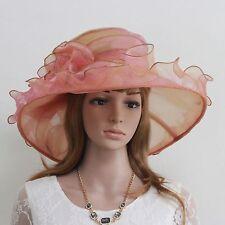 New Church Kentucky Derby Wedding Party Organza Wide Brim Dress Hat 868 coral
