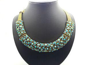 Edles Halsketten-Collier 3 Elemente mit türkisen Perlen u. Strass, dicke Kette