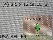 "HO Scale BRICK STYRENE SHEETS (4)  8.5"" X 12""  WHITE - MODEL GRADE"
