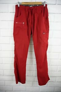 Koi Lite Cargo Scrub Red Womens Size Small Slim Fit Style 721 Mechanical Stretch