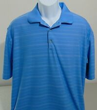 Nike Golf Blue Striped Short Sleeve Fit Dry Polo Shirt Mens Large