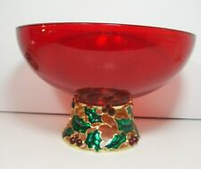 Ruby Red Holly Pedestal Glass Christmas Bowl Enameled Holiday