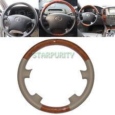 Tan Leather Wood Steering Wheel Cover 03-07 Toyota Land Cruiser 4700 FJ100 FJ120