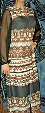 VINTAGE Hippie ALDENS FASHIONS Long Dress fits Med-Lrg 70's sheer arms browns