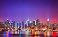 New York Skyline - America At Night Colourful Landscape Wall Art Canvas Pictures