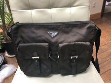 Prada Vela Medium Double-Pocket Messenger Bag Tessuto Nylon Brown