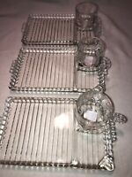 Retro Hazel Atlas Orchard Cut Glass Beaded Snack Drink Smoke Ash Tray With Cup