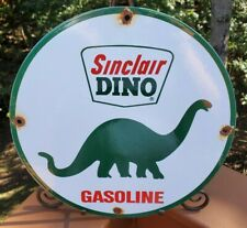 """SINCLAIR DINO 2 SIDED FLANGE DIE CUT SIGN 8/"""" H X 23/"""" W GREAT COLORS /& GRAPHICS"""