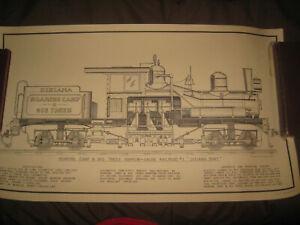 Vintage 1971 Dixiana Shay Narrow Gauge Railroad Locomotive Poster Print 24 x 14