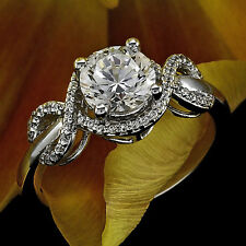 1.24 CT ROUND CUT DIAMOND HALO ENGAGEMENT RING 14K WHITE GOLD