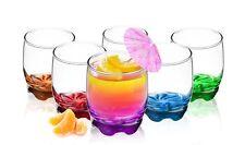 6 Trinkgläser 250ml mit farbigem bemalten Boden Glas Wassergläser Saftgläser