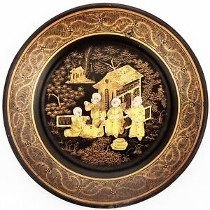 Antique 19th Century Chinese Export Black Gold Lacquer 4 Monks People Plaque Old