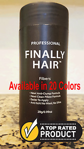 FINALLY HAIR BUILDING FIBERS DARK MEDIUM LIGHT BROWN BLACK GREY 28G CAN FROM USA