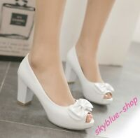 Solid Ladies Peep Toe Bowknot Platform Chunky Mid Heels Party Shoes Plus UK Size