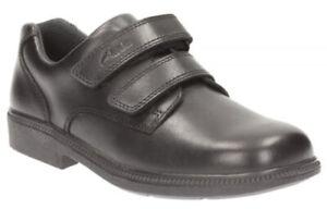 Clarks DEATON GATE Boys Black Leather Riptape School Smart Shoes 13-3 F Fit BNIB