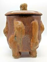 "Large 8 ½"" Tall Vintage Organic Studio Pottery Lidded Jar or Canister, 56-oz cap"