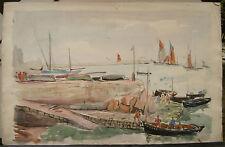 """Tableau Peinture Aquarelle PIERRE ABADIE LANDEL """"Les Voiliers"""" Bretagne PAL4"""